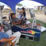 Simulatore di gara, sotto la tenda Red Bull